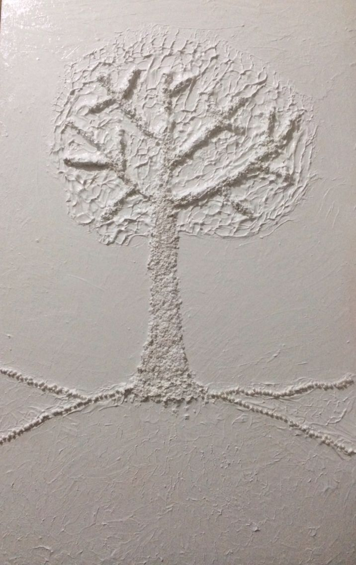 Havermout boom :-) met witte verf en gesso