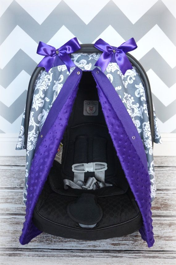 Minky Carseat Canopy Car Seat Cover Purple Gray By