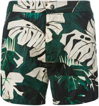 a comfortable elasticated waistband, Moncler plant print swimming trunks #swimwear #summerwear #menswear #menswear