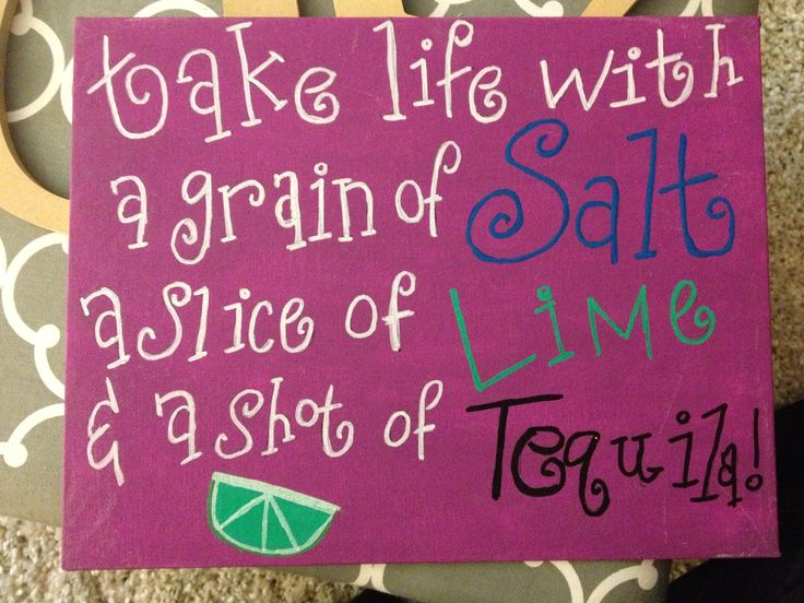 """""""Take life with a grain of salt a slice of lime and a shot of tequila"""" Sorority craft for the little! #littlecraft #sororitycraft"""