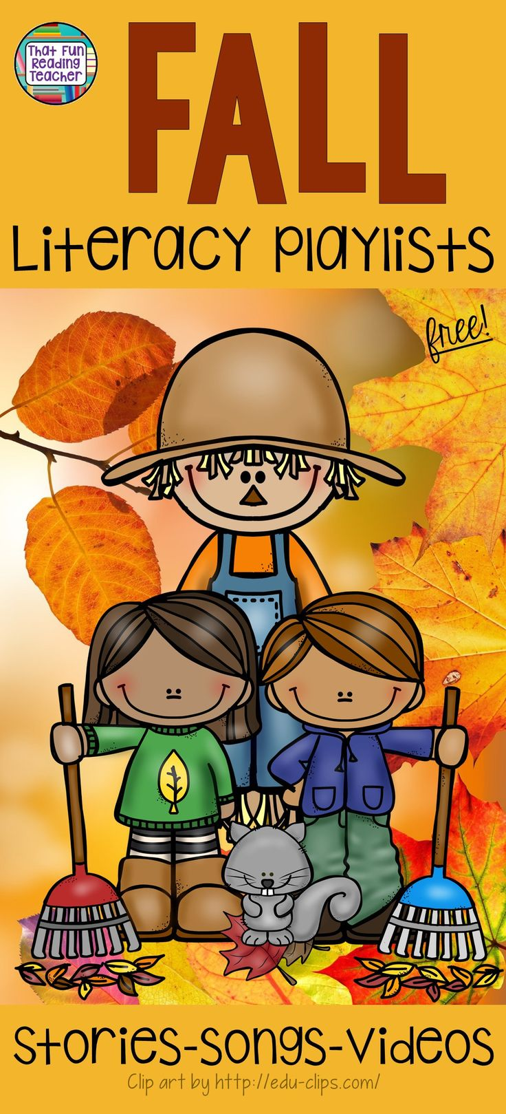 Free Fall Literacy playlists - stories, songs, poems, videos about Autumn, Halloween, Thanksgiving & Remembrance / Veterans Day on That Fun Reading Teacher.com