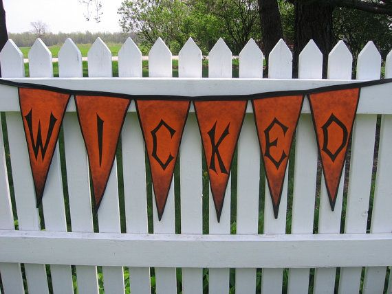Halloween Banner Hand Painted Canvas Wicked by ArtfullyHandcrafted, $43.00