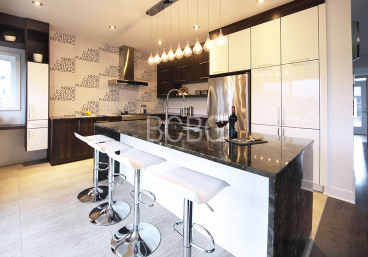 Modern kitchen style with maple cabinet painted in white lacquer
