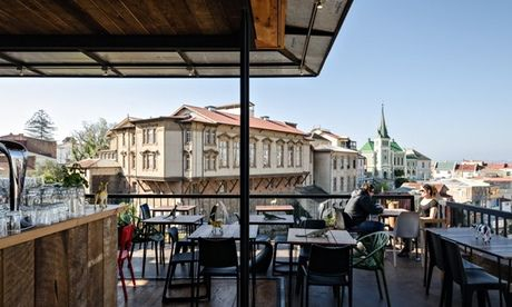 View of Valparaíso from the Hotel Fauna's rooftop bar. Photograph: Pablo Blanco