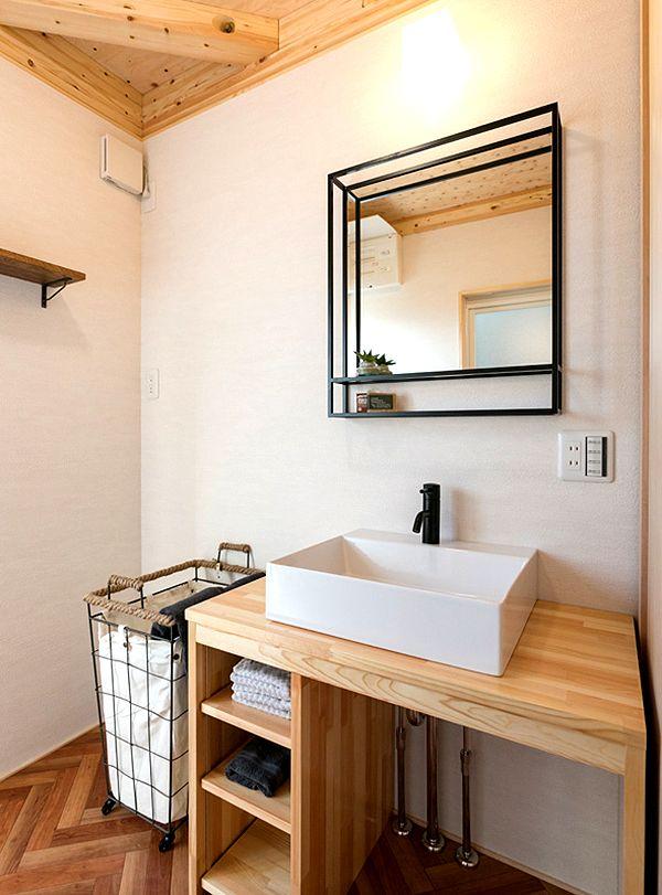 バスルームの化粧台 造作 洗面台 洗面所 おしゃれ