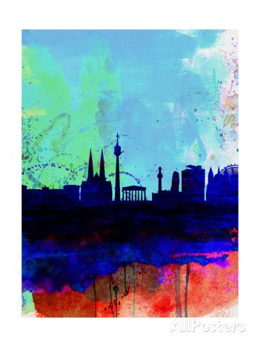 Vienna Watercolor Skyline Posters by NaxArt at AllPosters.com