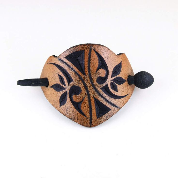 Carved leather barrette with wooden dowel by kutilajos on Etsy