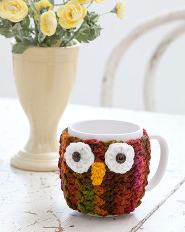 Best Free Crochet » Free Crochet Pattern Owl Mug Wrap From RedHeart.com