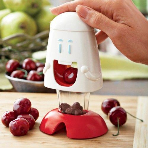 It's a cherry pitter. It's $8. It has a little face on it