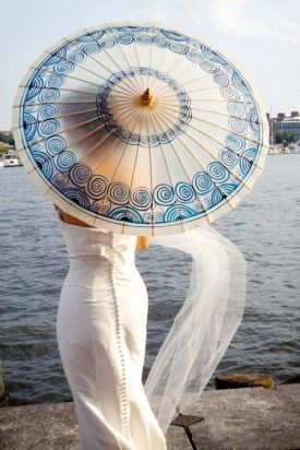 Lovely white and blue paper #umbrella perfect for a summer wedding ceremony...pure charm