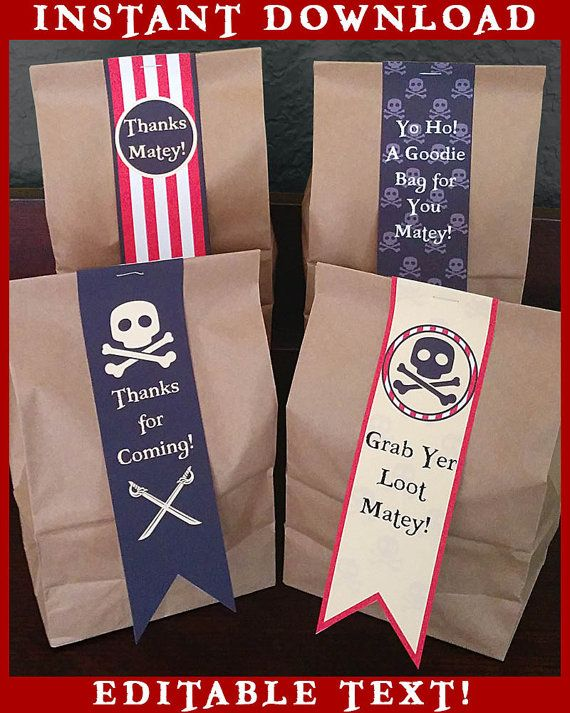 Pirates Party Printable Favor Bag Tags - EDITABLE Text - Personalize at Home - INSTANT DOWNLOAD