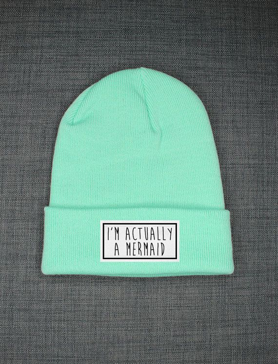 I'm Actually A Mermaid Beanie by ResilienceStreetwear on Etsy