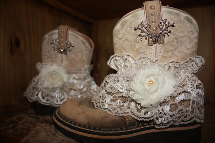 Toddler size 4 Little girl cowgirl boots and lace by EclecticHOBO, $28.00