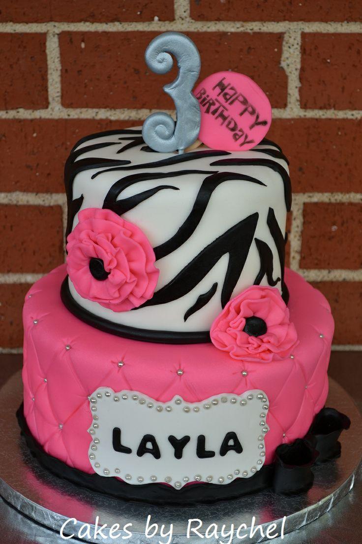 My Creative Way: Hot Pink Zebra Cake with Ruffle Flowers. Sweet Friday