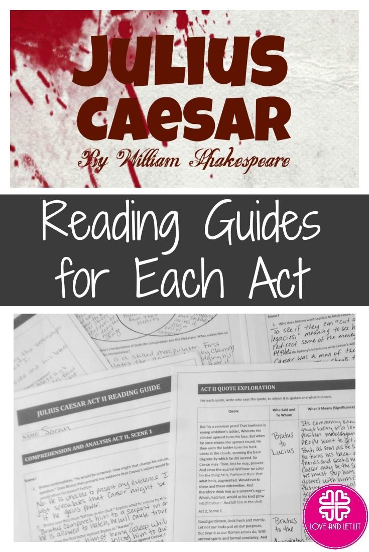 Teaching Julius Caesar by William Shakespeare? Check out this reading guide bundle – easy to implement into lessons and perfect to frame your unit plan. A separate reading guide for each act for comprehension and analysis. Perfect for the high school English Language Arts classroom!