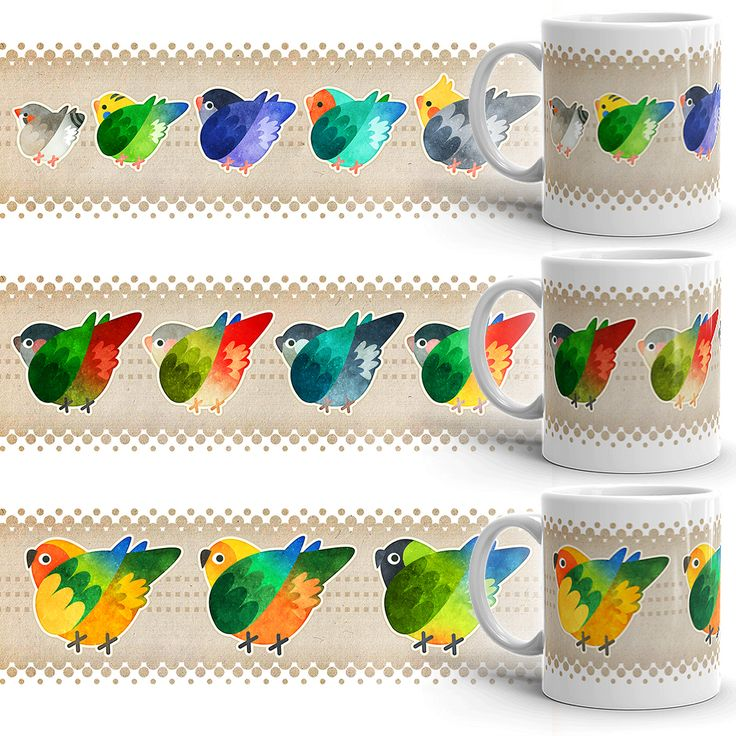Fuzzy Bird Butts Mugs (Sun Jenday Nanday Conures, Green Cheek Conures, Finch Budgie Lovebird Cockatiel)
