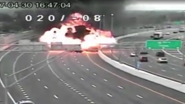 A massive explosion was captured on a highway camera after a vehicle collided with a tanker truck in Ohio.