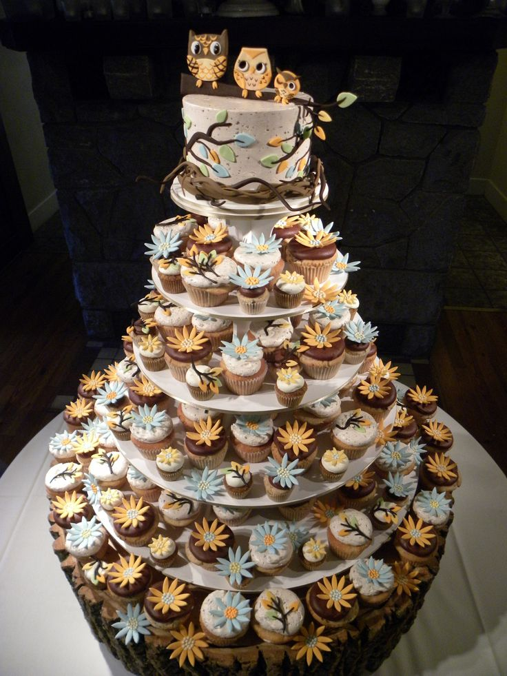 Oh my Goodness!   Look at the cupcake wedding cake with the owls on top!