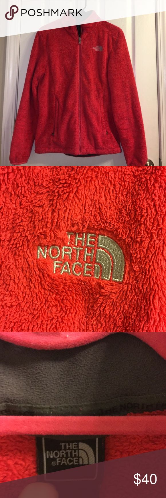 Fuzzy Women's Osito North Face Jacket Red fuzzy North Face. Overall in good condition except some wear on bottom of sleeves, shown in picture! The North Face Jackets & Coats