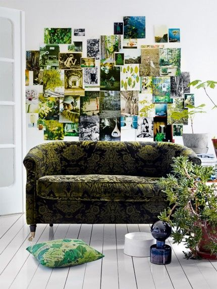 #Elle #Decor #wall #green: Wall Collage, Ideas, Green Interiors, Couch, Green Wall, Colors, Photos Collage, Living Room, Photos Wall