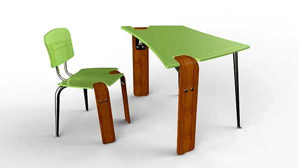 Attractive Contemporary Student Desk And Chair In Green Color Design