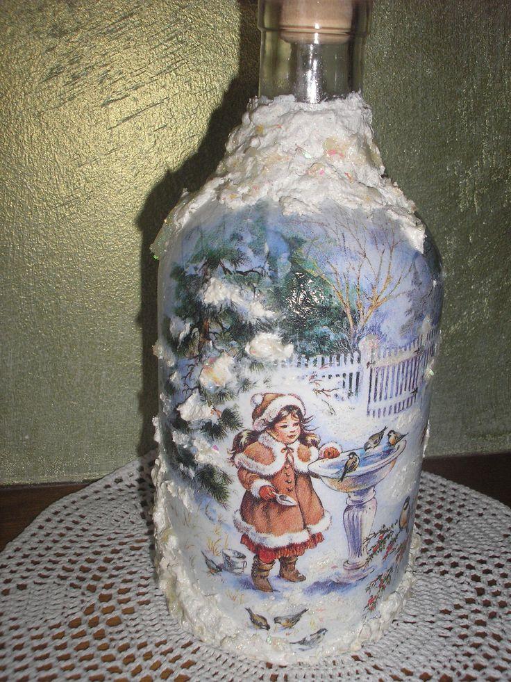 decoupage christmas bottle Stella
