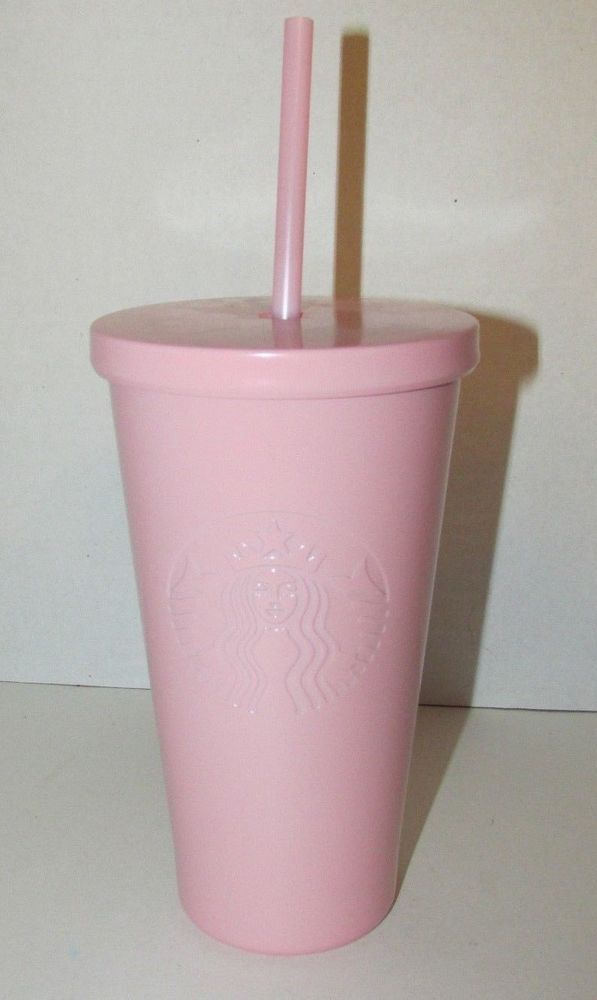8a4187b03c1 Starbucks Matte Pink stainless steel tumbler insulated straw cup 16oz 2017 # starbucks