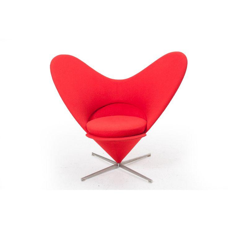 Poltrona Heart Cone by Verner Panton per Vitra Germania anno 1959 Rosso in tessito