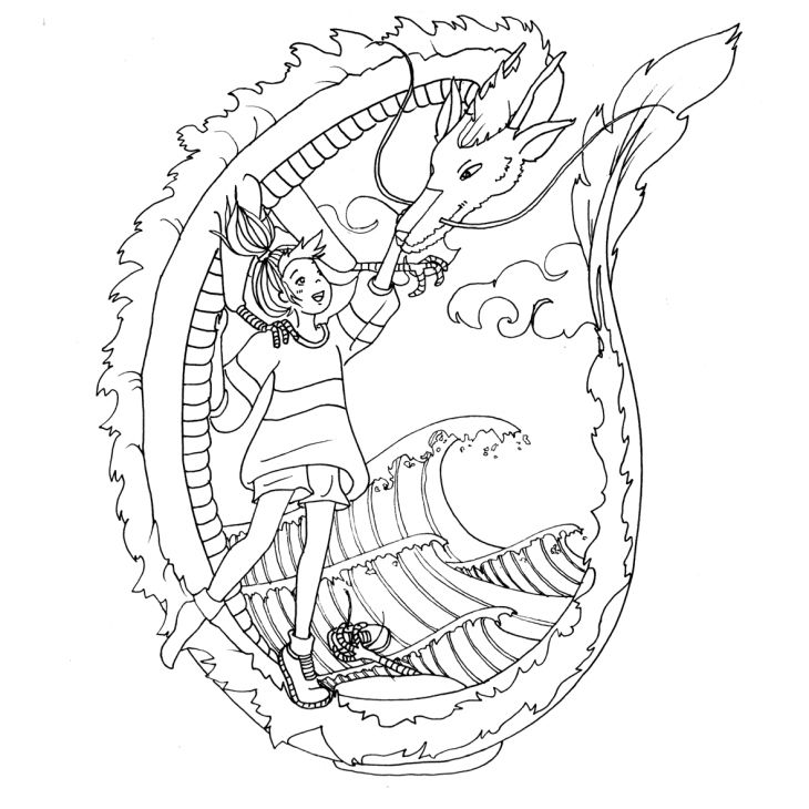 Coloring page to print at home for both children and adults - Ghibli - Chihiro and Haku - Coloriage anti stress pour enfants et adultes