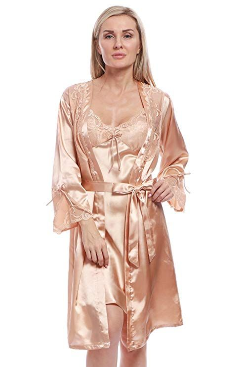 c86cc8a859 BellisMira Women s Satin Robe Silk Dressing Gown Lace Pyjamas Long  Nightdress Sexy Ladies Bathrobe Sleep Slip