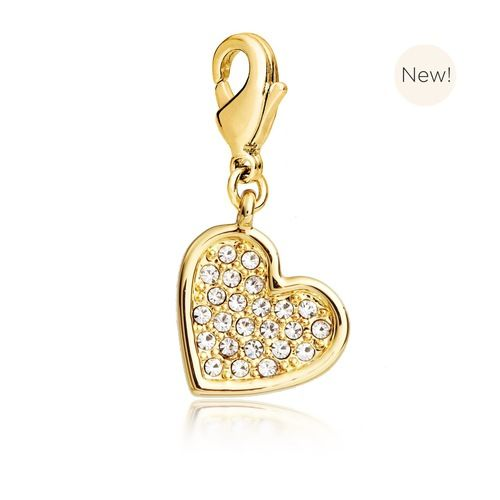 Embellished Heart Charm with Swarovski® Crystals Gold Plated