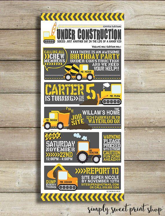 Under Construction Boy Birthday Party Invitation - Gray Black Yellow Orange Tractor Digger Dirt Cute Modern Comic Strip Construction Invite by SimplySweetPrintShop on Etsy https://www.etsy.com/listing/206636474/under-construction-boy-birthday-party