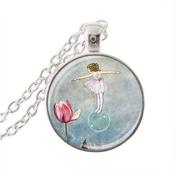 Fairy pendant lotus necklace girl on bubble picture glass cabochon pendant necklace for men silver chain neckless women jewelry