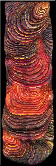 "Pele, silk carving, 17"" x 48"". Go to the website to learn more about this remarkable piece and see it hanging in context. http://artandinterior.blogspot.com/2011/08/sometimes-you-need-colour-break.html"