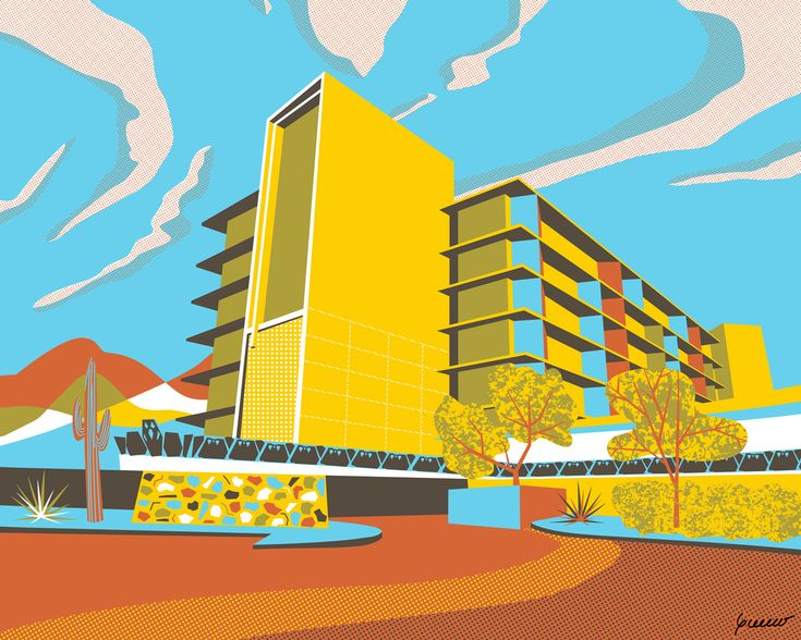 This illustration was inspired by the Valley Ho Hotel. This cool jewel of modern architecture in downtown Scottsdale — designed by architect Edward Varney — was built in 1956. Hollywood celebrities flocked to the hotel in the '50s and '60s, but it had lost a bit of its shine by the 1970s. Happily, Westroc Hospitality purchased the property and reopened the Hotel in 2005 after extensive restoration, and the building is now as Mid-Century marvelous as ever.