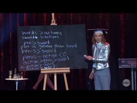 """Comedian Paul Foot breaks down the phrase """"Actions speak Louder than Words"""" using mathematics and it blows my mind."""