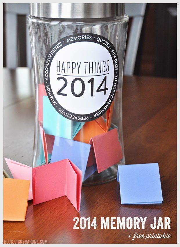 Make a memory jar | New Year Resolution | Happy Things Memory Jar + A Free Printable by Vicky Barone | #PinYourResolution