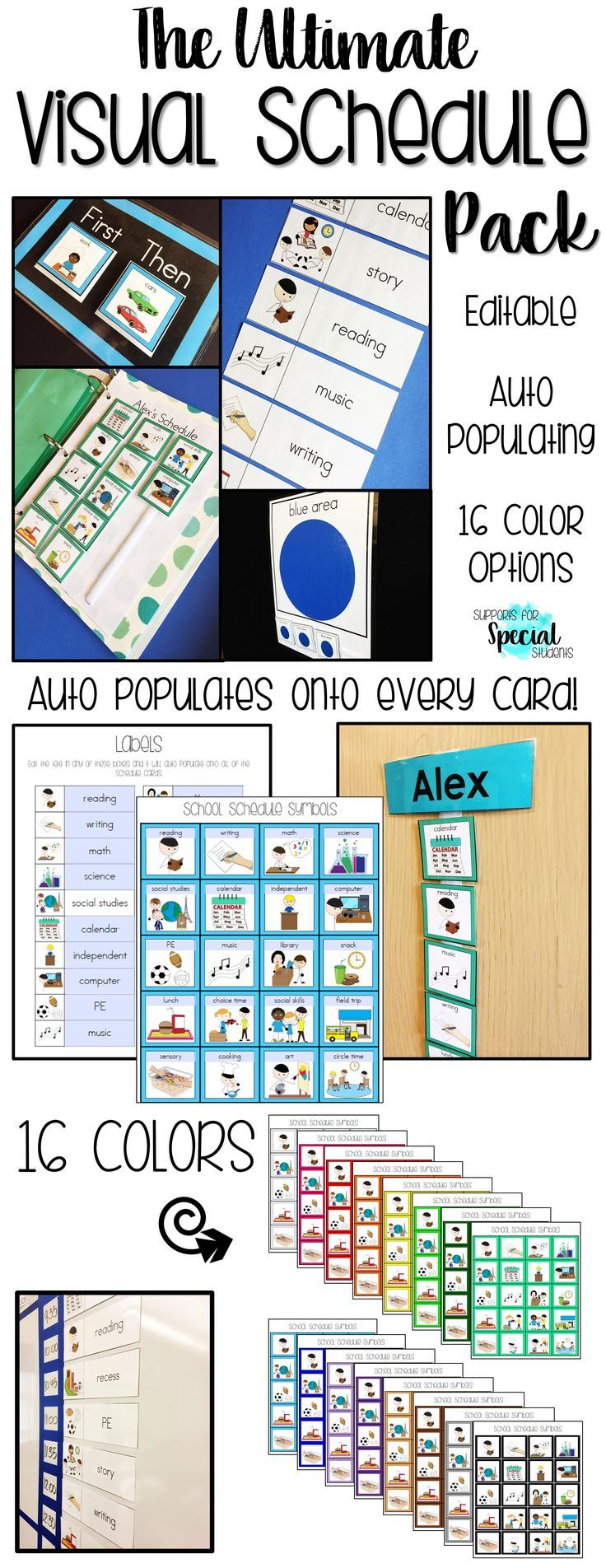 This HUGE pack contains over 700 pages of editable schedule cards! There are 16 color options and 4 different sizes. Two files are included in this pack. The auto-populating PDF saves you time and energy. Change the title on one card and it will auto-popu