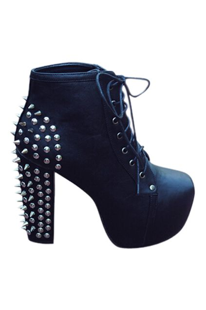 ROMWE | ROMWE Pointed Rivets Embellished Cool High Heels, The Latest Street Fashion