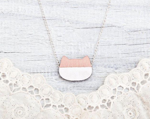 via en.dawanda.com Wooden Necklaces – Wooden cat Necklace, Pink pendant – a unique product by Julia-Wine on DaWanda