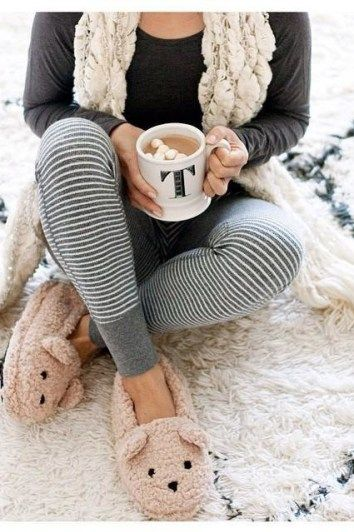 Pinterest: @ theapresgal ❄△ | Jammies on, hot cuppa tea & teddy bear slippers. Ideal.