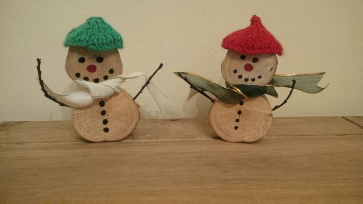 Christmas, Rustic, Log, Snowman Set