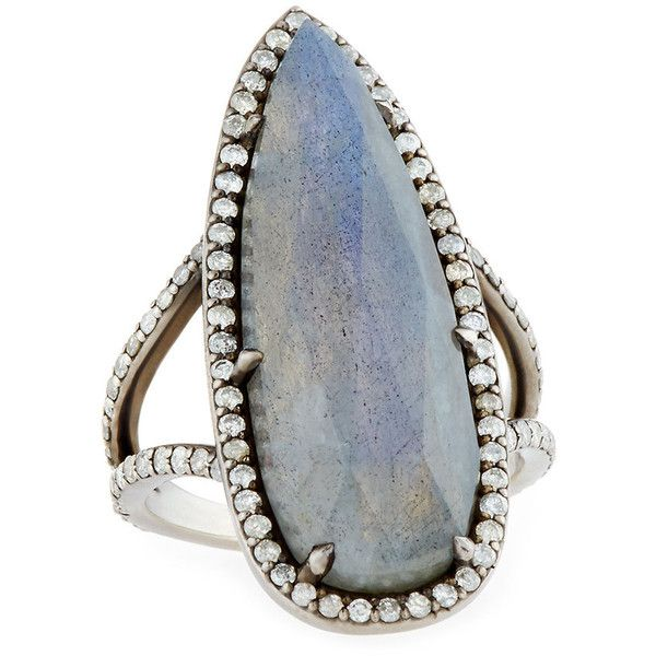 Sheryl Lowe Teardrop Labradorite Ring with Diamonds (3 165 540 LBP) ❤ liked on Polyvore featuring jewelry, rings, cocktail rings, diamond cocktail rings, tear drop ring, pave diamond ring and teardrop ring