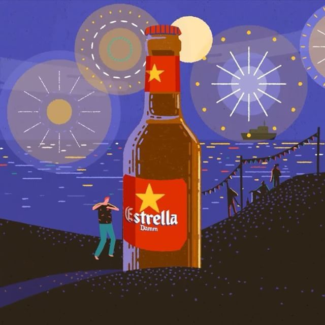 Happy Friday!🍻🍻🍻A GIF I did recently for @estrelladamm to celebrate summer solstice.  #summer #animation #illustration #day #night #estrelladamm #beer #spain #barcelona #friday #beach #sea #dance #gif #weekend #june #solstice by yukai_du