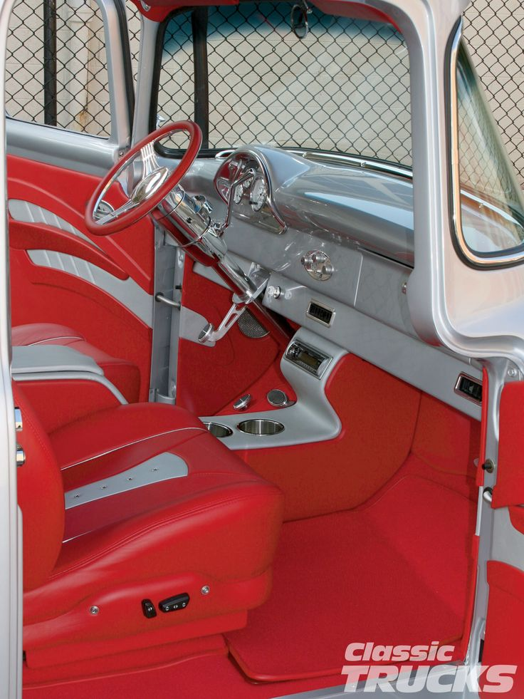 1956 ford f100 pickup truck upholstered leather interior red silver grey console door panels. Black Bedroom Furniture Sets. Home Design Ideas