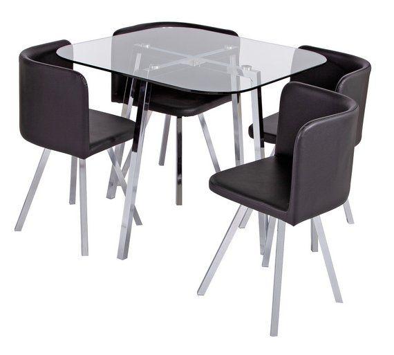 Buy Argos Home Elsie Glass Dining Table 4 Black Chairs Space Saving Dining Sets Argos Glass Dining Table Dining Room Furniture Sets Argos Home