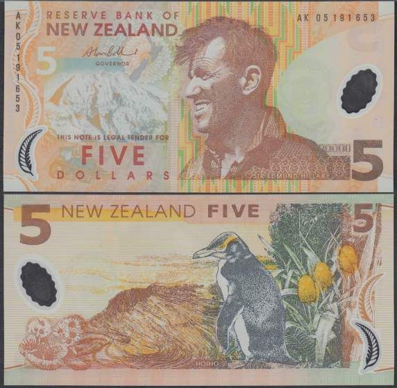 New Zealand – The $5 bill on New Zealand has Sir Edmund Hillary on the front, a famous mountaineer, explorer, and philanthropist. On the back is the National Animal the Kiwi. These figures represent important parts of the culture in New Zealand.