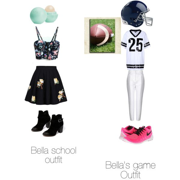 Bella and the Bulldogs by bandnerd001 on Polyvore featuring polyvore, fashion, style, DKNY, STELLA McCARTNEY, Chinese Laundry, NIKE, Eos and Rawlings