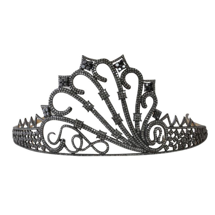 Tiara For Sale Diamond Black Stone 21.35 Ct Silver Bridal Hair
