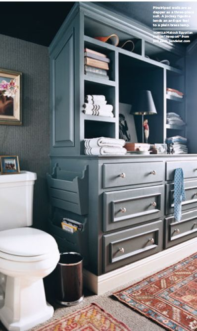 Pinstriped walls are as dapper as a three piece suit the for 3 piece bathroom ideas